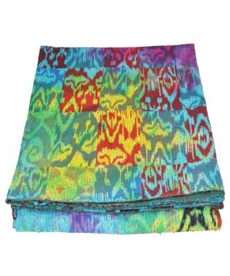 Kantha Quilt Queen Cotton Vintage Throw Blanket Multi Design Indian Handmade GDR0507