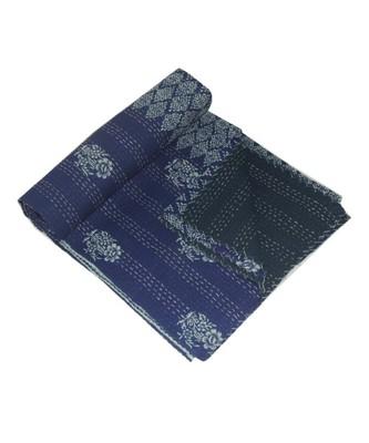 Kantha Quilt Queen Cotton Vintage Throw Blanket Multi Design Indian Handmade GDR0540