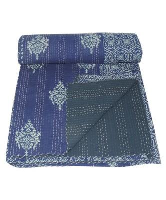 Kantha Quilt Queen Cotton Vintage Throw Blanket Multi Design Indian Handmade GDR0543