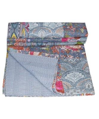 Kantha Quilt Queen Cotton Vintage Throw Blanket Multi Design Indian Handmade GDR0553