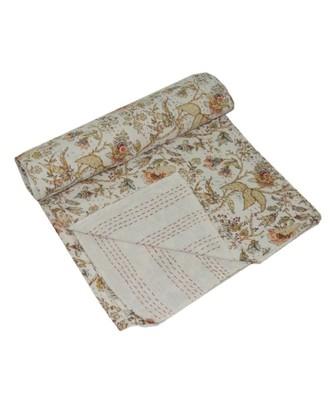 Kantha Quilt Queen Cotton Vintage Throw Blanket Multi Design Indian Handmade GDR0562