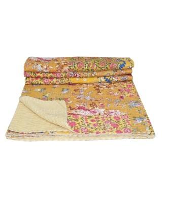 Kantha Quilt Queen Cotton Vintage Throw Blanket Multi Design Indian Handmade GDR0582