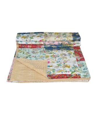Kantha Quilt Queen Cotton Vintage Throw Blanket Multi Design Indian Handmade GDR0583