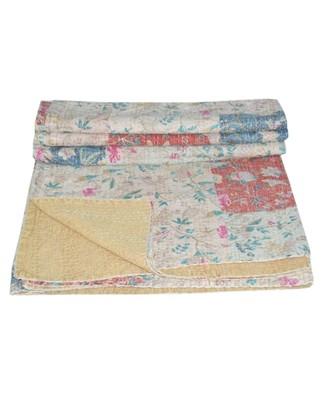 Kantha Quilt Queen Cotton Vintage Throw Blanket Multi Design Indian Handmade GDR0584