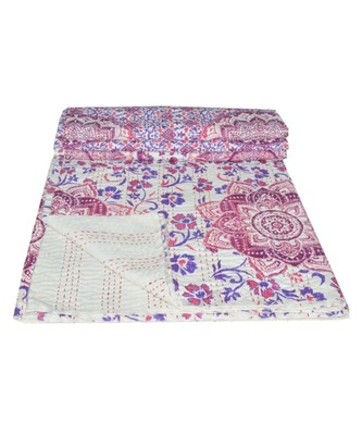 Kantha Quilt Queen Cotton Vintage Throw Blanket Multi Design Indian Handmade GDR0599