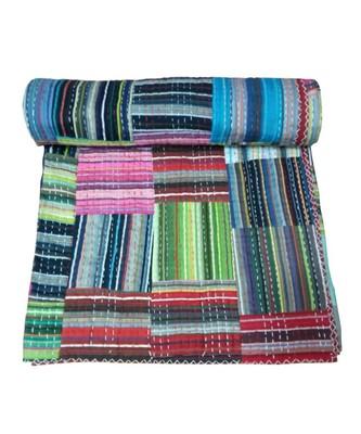 Kantha Quilt Queen Cotton Vintage Throw Blanket Multi Design Indian Handmade GDR0602
