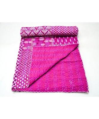 Kantha Quilt Queen Cotton Vintage Throw Blanket Multi Design Indian Handmade GDR0608