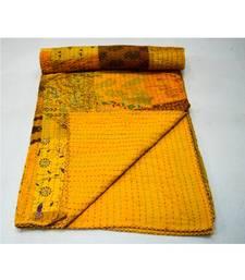 Kantha Quilt Queen Cotton Vintage Throw Blanket Multi Design Indian Handmade GDR0614
