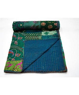Kantha Quilt Queen Cotton Vintage Throw Blanket Multi Design Indian Handmade GDR0615