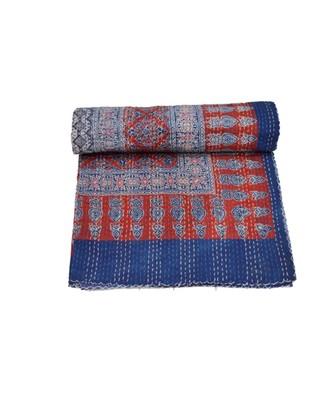 Kantha Quilt Queen Cotton Vintage Throw Blanket Multi Design Indian Handmade GDR0616