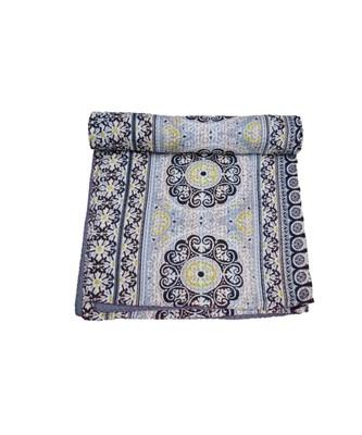 Kantha Quilt Queen Cotton Vintage Throw Blanket Multi Design Indian Handmade GDR0617
