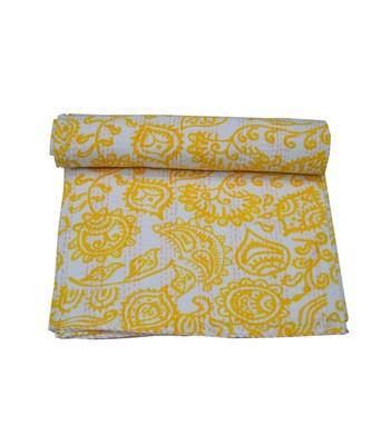 Kantha Quilt Queen Cotton Vintage Throw Blanket Multi Design Indian Handmade GDR0620