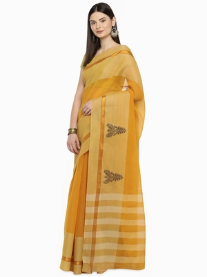 Mustard woven polycotton saree with blouse