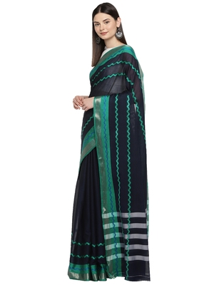 Navy blue woven polycotton saree with blouse