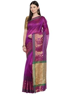Purple woven polycotton saree with blouse