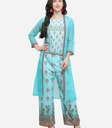 Turquoise printed art silk kurtas Sets