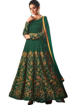 c57a2e07b5 Delicate Dark Green Raw Silk Anarkali Suit. - Nallu Collection - 2808962
