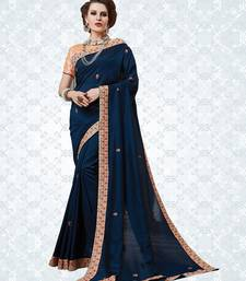 Buy Blue embroidered georgette saree with blouse ombre-saree online