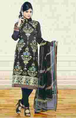 black embroidered semi stitched ethnic-suits with maching dupatta