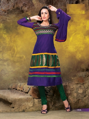 purple embroidered semi stitched ethnic-suits with maching dupatta