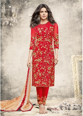 Red Embroidered Georgette semi stitched Long Suits