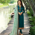 Turquoise Embroidered Satin Silk Semi stitched Straight Suit