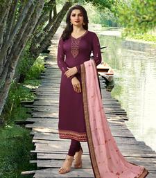Purple Embroidered Satin Silk Semi stitched Straight Suit