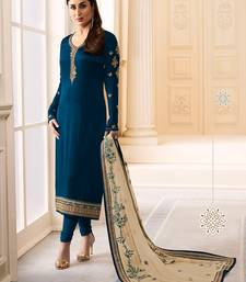 Blue Embroidered Satin Silk Semi stitched Straight Suit
