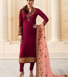 Maroon Embroidered Satin Silk Semi stitched Straight Suit