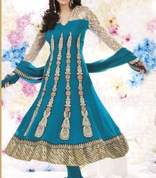 blue embroidered semi stitched ethnic-suits with maching dupatta