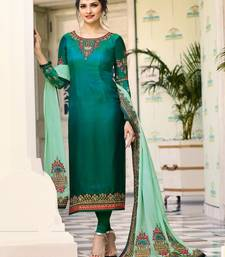 Buy Green Embroidered Satin Silk Semi stitched Straight Suit ethnic-suit online