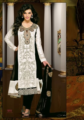 multicolor embroidered semi stitched ethnic-suits with maching dupatta