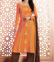 peach embroidered semi stitched ethnic-suits with maching dupatta