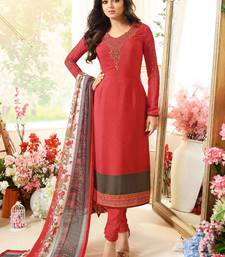 Red Embroidred Crepe Semi stitched straight Suit