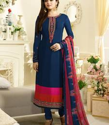 Blue Embroidred Crepe Semi stitched straight Suit