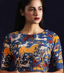 Buy Blue Cotton readymade blouse readymade-blouse online