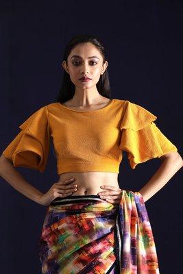 Yellow Lycra readymade blouse