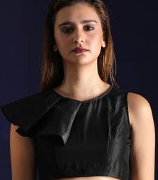 Black Dupion readymade blouse
