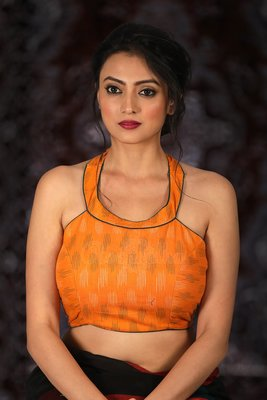Orange Cotton readymade blouse