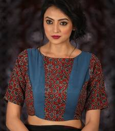 Buy Brown Cotton readymade blouse readymade-blouse online