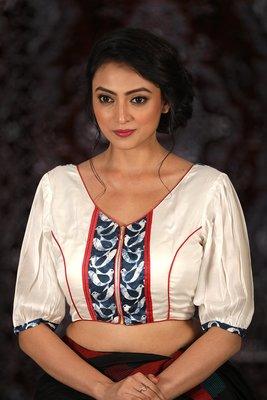 White Modal Satin readymade blouse