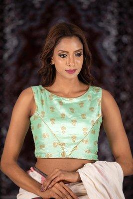 Green Silk readymade blouse