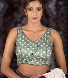 Buy Grey Modal Satin readymade blouse readymade-blouse online