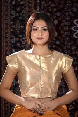 Gold Silk readymade blouse