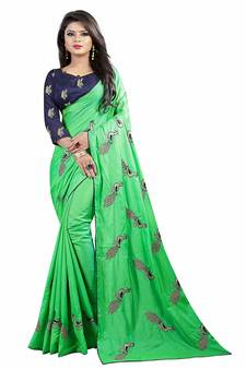 c3507791b02ff Parrot green embroidered silk blend saree with blouse