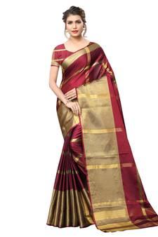 11edf4f6e Progress 4cc28d84d76fcb9210fe43f7ac15eb975cd0845b972ae4a79b1d0ad72de0bd8e.  Maroon woven art silk saree with blouse
