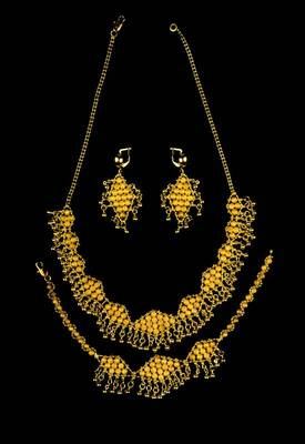 Just Women - Gold Dip Necklace, Earring and Bracelet Set.