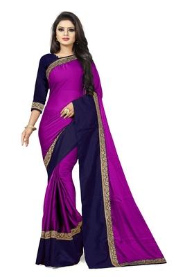 Purple plain faux georgette saree with blouse