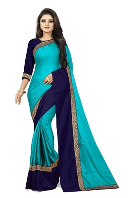 Sky blue plain faux georgette saree with blouse