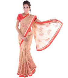 Buy Cream plain net saree with blouse supernet-saree online
